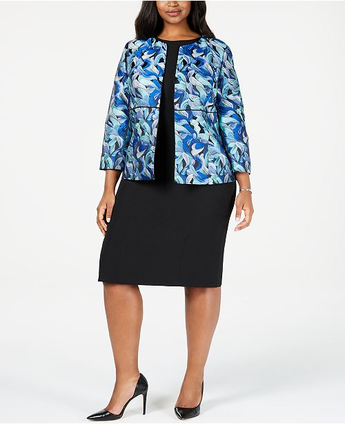 Kasper Plus Size Jacquard Jacket & Sheath Dress