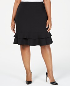 Kasper Plus Size Stretch Ruffle Skirt