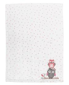 Family Tree Polka Dot Owl Luxury Fleece Baby Blanket