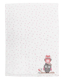 Lambs & Ivy Family Tree Polka Dot Owl Luxury Fleece Baby Blanket