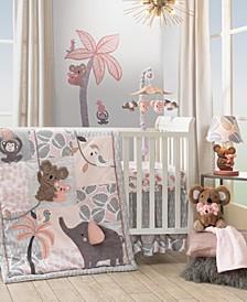Calypso, Elephant and Monkey Nursery 4-Piece Baby Crib Bedding Set