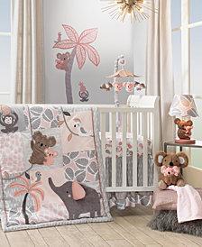 Lambs & Ivy Calypso, Elephant and Monkey Nursery 4-Piece Baby Crib Bedding Set