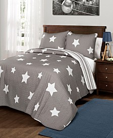 Star Reversible 3-Pc. Full/Queen Quilt Set