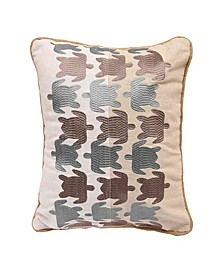 Turtle Embroidered Linen Pillow