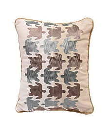 HiEnd Accents Turtle Embroidered Linen Pillow