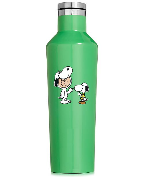 Corkcicle Peanuts Collection Snoopy & Charlie Brown 16-Oz. Green Stainless Steel Canteen, Created for Macy's