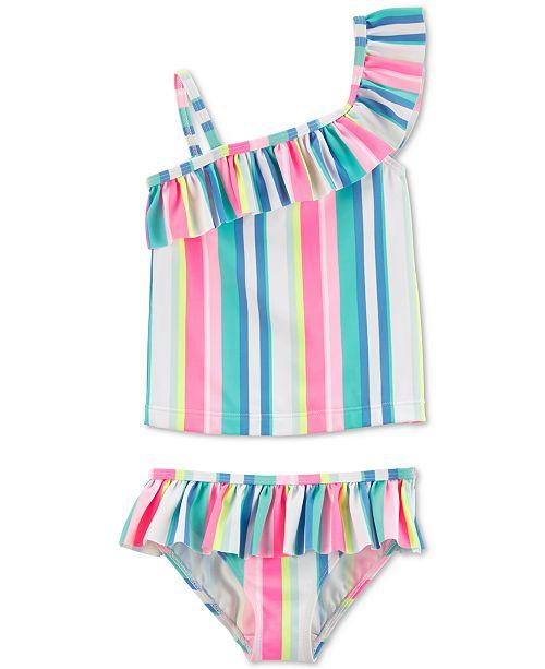 Carter's Baby Girls 2-Pc. Striped Ruffle Swimsuit