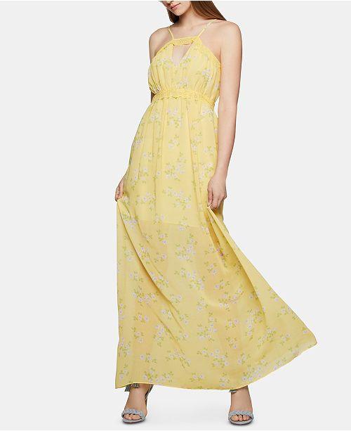 BCBGeneration Lace-Trim Floral-Print Maxi Dress