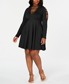 Rebdolls Caged Skater Mini Dress By The Workshop at Macy's, Regular & Plus Sizes