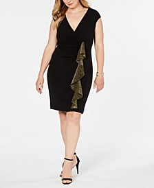 Plus Size Metallic-Ruffle Wrap Dress