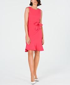 Calvin Klein Ruffle-Hem Belted Dress