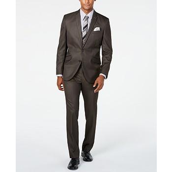 Kenneth Cole Unlisted Men's Slim-Fit Brown Sharkskin Suit