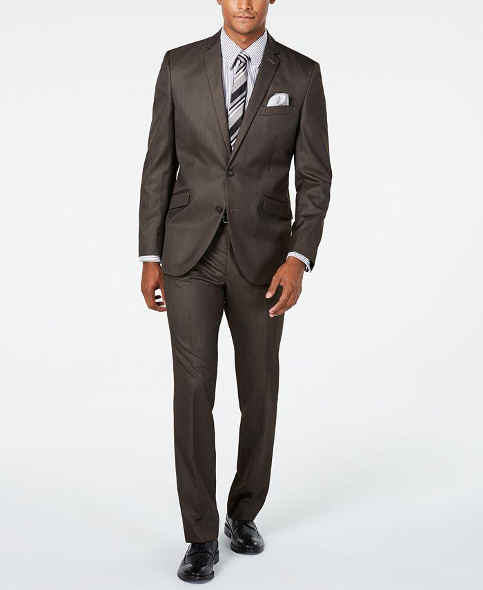 Kenneth Cole - Men's Slim-Fit Brown Sharkskin Suit