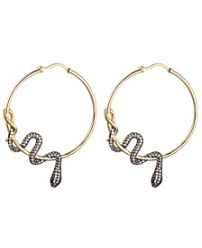Cubic Zirconia Snake Wrapped Hoop Earring