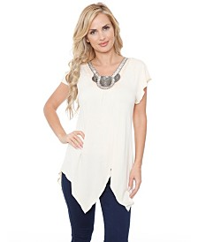 White Mark Women's Fenella Embellished Tunic top