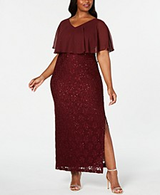 Plus Size Sequined Lace Overlay Gown