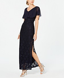 Sequined Lace Chiffon Overlay Gown