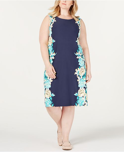 Charter Club Plus Size Printed Shift Dress, Created for Macy's