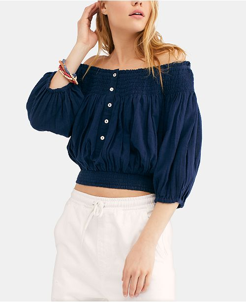 Dancing Till Dawn Smocked Off-The-Shoulder Top