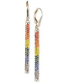 DKNY Gold-Tone Rainbow Pavé Linear Drop Earrings