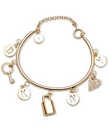 DKNY Gold-Tone Pavé Logo Charm Bracelet