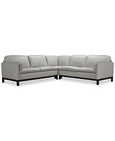 "Virton 3-Pc. Leather ""L"" Sectional Sofa, Created for Macy's"
