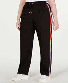 MICHAEL Michael Kors Plus Size Rainbow-Stripe Track Pants