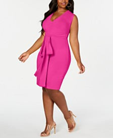 Rebdolls Bodycon Tie Waist Midi Dress By The Workshop At Macy's, Regular & Plus Sizes