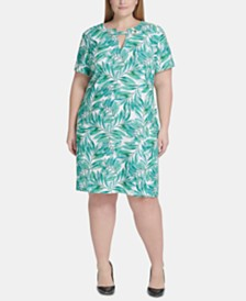 Tommy Hilfiger Plus Size Wild Palm Grommet-Neck Dress
