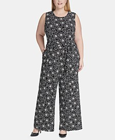 Plus Size Printed Jersey Jumpsuit