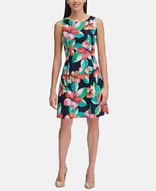 Tommy Hilfiger Floral-Printed Eyelet Fit & Flare Dress