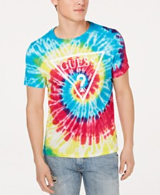 GUESS Men's Rainbow Tie-Dyed Logo Graphic T-Shirt