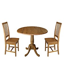 "42"" Round Pedestal Table with Two Chairs"