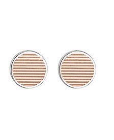 Men's Two-Tone Stainless Steel Striped Cufflinks