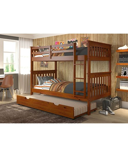 Donco Kids Twin Over Twin Mission Bunk Bed with Trundle Bed