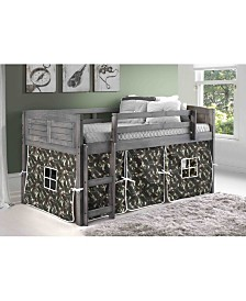 Twin Low Loft Bed with Camo Tent