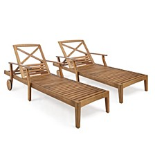 Perla Outdoor Chaise Lounge (Set of 2)