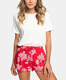 Roxy Juniors' Floral Printed Drawstring Shorts