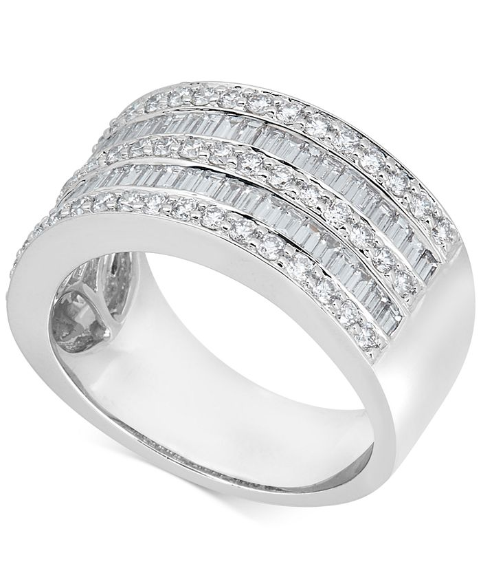 Macy's - Diamond Baguette Multi-Row Band (1-1/2 ct. t.w.) in 14k White Gold