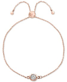 EFFY® Diamond Bezel Bolo Bracelet (1/6 ct. t.w.) in 14k Rose Gold