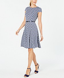 Cap-Sleeve Belted Dress