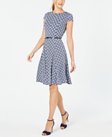 Jessica Howard Cap-Sleeve Belted Dress