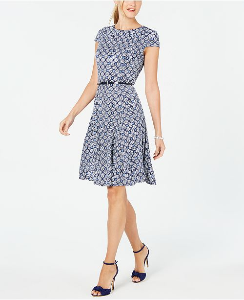 Jessica Howard Cap-Sleeve Belted Dress