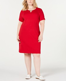 Karen Scott Plus Size Ribbed Dress, Created for Macy's
