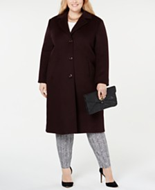Jones New York Plus Size Notch Collar Single Breasted Reefer Maxi Coat