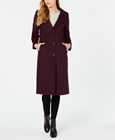Jones New York Single-Breasted Notch Collar Reefer Maxi Coat