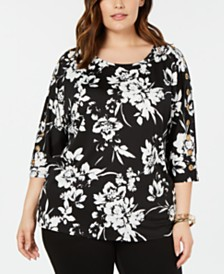 Belldini Plus Size Printed Grommet-Trim Top