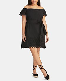 RACHEL Rachel Roy Trendy Plus Size  Cotton Off-The-Shoulder Dress