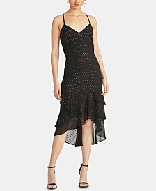 RACHEL Rachel Roy Justina Metallic-Dot Ruffled Dress