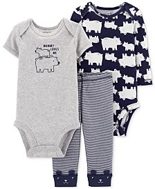 Carter's Baby Boys 3-Pc. Polar Bear-Print Cotton Bodysuits & Pants Set